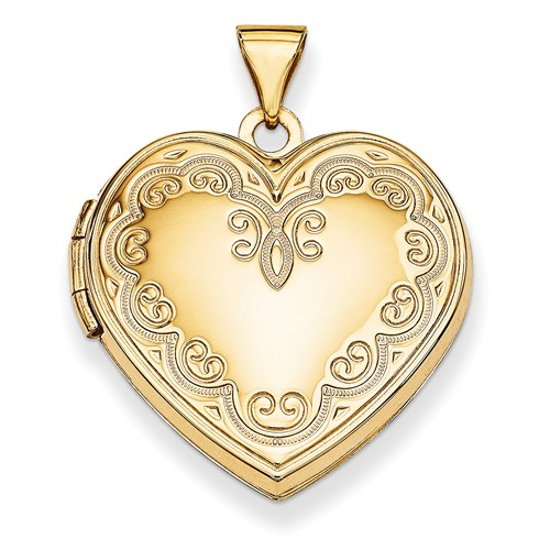 14k Yellow Gold Heart Locket by Jewelrypot