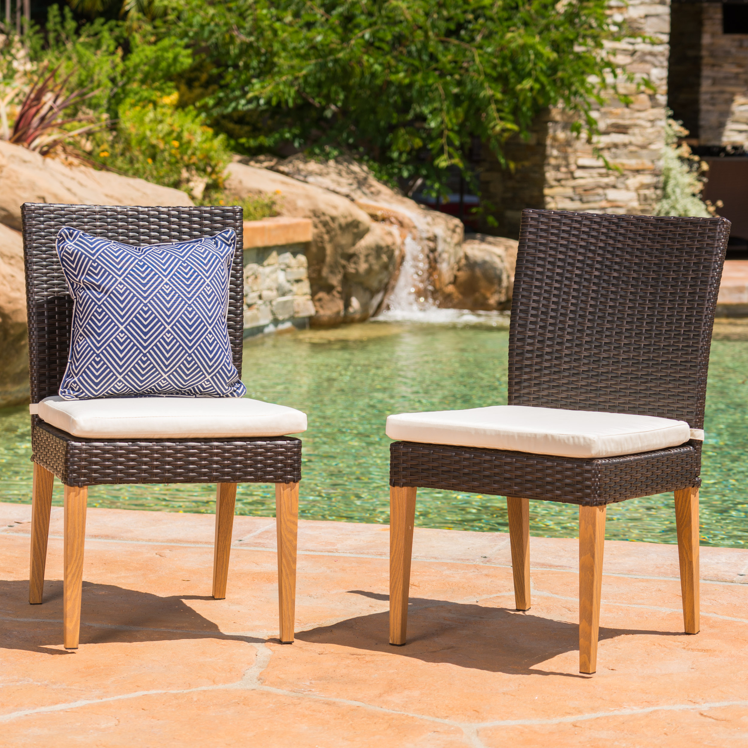 Blythe Outdoor Wicker Dining Chairs with Cushions, Set of 2, Multibrown, Beige