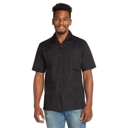 9 Crowns Men's Modern Fit Short Sleeve Guayabera Button Down