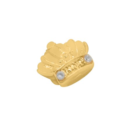 Gold-Tone Hip Hop Single Tooth with King Crown Grillz - Tooth Costumes