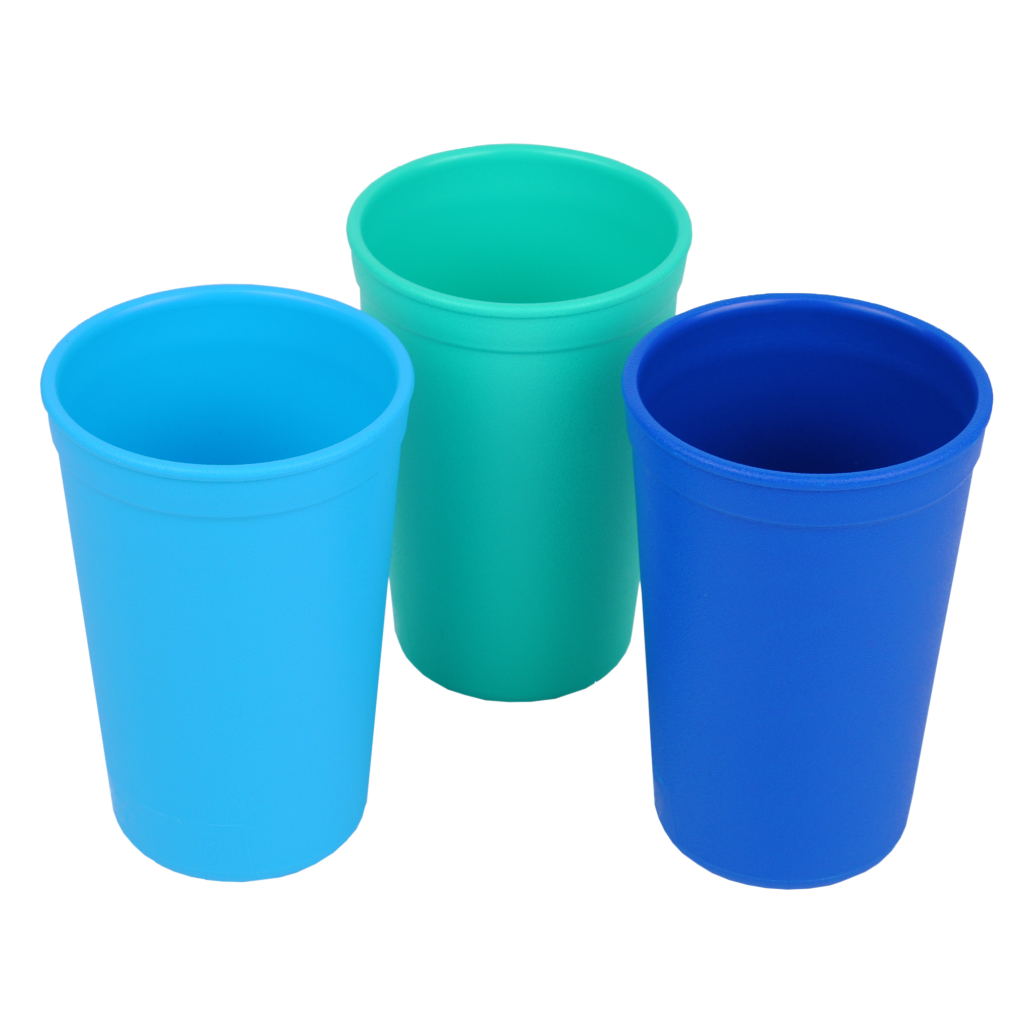 Re-Play Made in the USA 3pk Drinking Cups for Baby, Toddler and Children - Sky Blue, Aqua, Navy (True Blue) Durable, Dependable and Tough Toddler Sippy Cups!