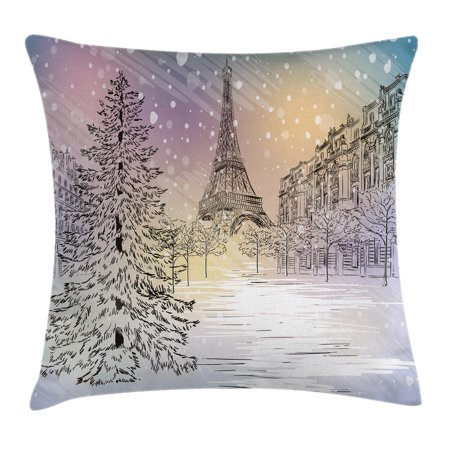 Winter Decorations Throw Pillow Cushion Cover, Image of Stormy Winter Day in Paris Streets Eiffel Tower Europe Scene, Decorative Square Accent Pillow Case, 18 X 18 Inches, Pink White, by Ambesonne