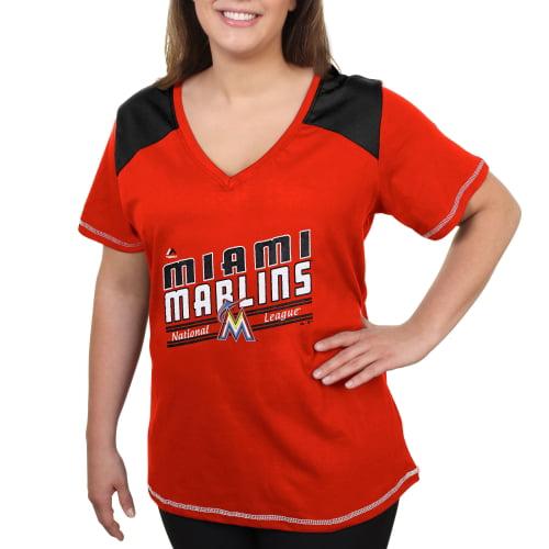 Miami Marlins Majestic Women's Plus Size Superior Speed Fashion T-Shirt - Orange
