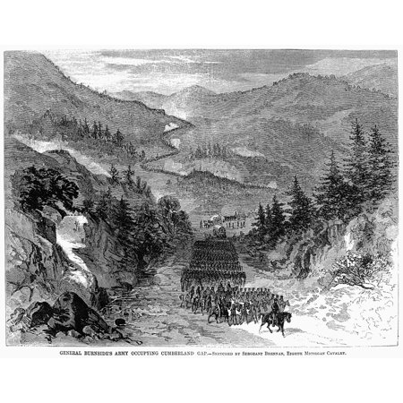 Civil War Cumberland Gap Nunion Troops Led By Major General Ambrose Everett Burnside Occupying The Cumberland Gap In September 1863 Wood Engraving From A Contemporary Newspaper Rolled Canvas Art -  (Civil War Generals 2 Windows 7 64 Bit)