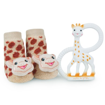 Vulli Sophie La Girafe Baby Teether Toy and Waddle Sophie The Giraffe Rattle Socks Newborn Gift Set Natural Rubber Teething Ring Unisex Animal Sensory Chew Toys Gum Massager Oral Pain Relief Soother