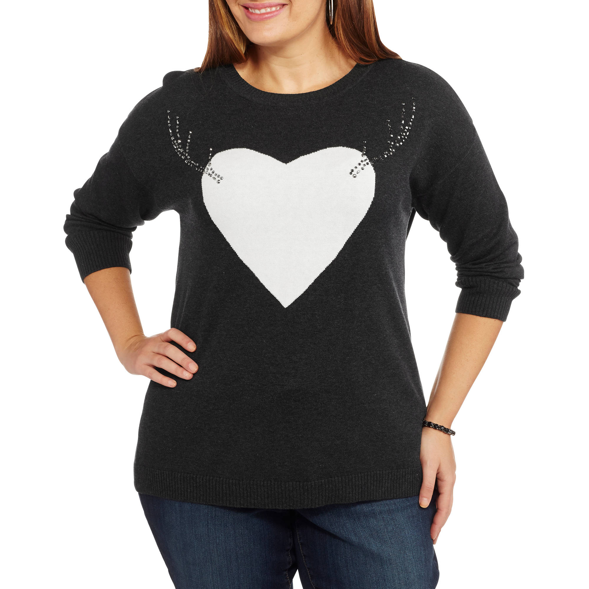 Holiday Women's Plus Heart Pullover Christmas Sweater