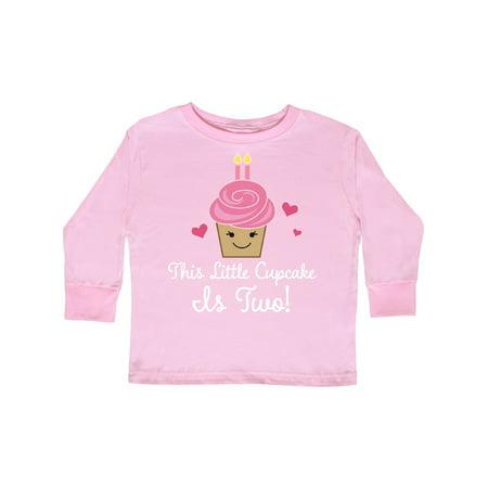 2nd Birthday Cupcake Girls Cute Toddler Long Sleeve T-Shirt ()