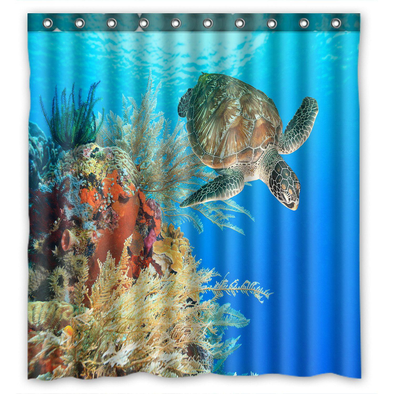 PHFZK Ocean Shower Curtain, Underwater World Sea Turtle