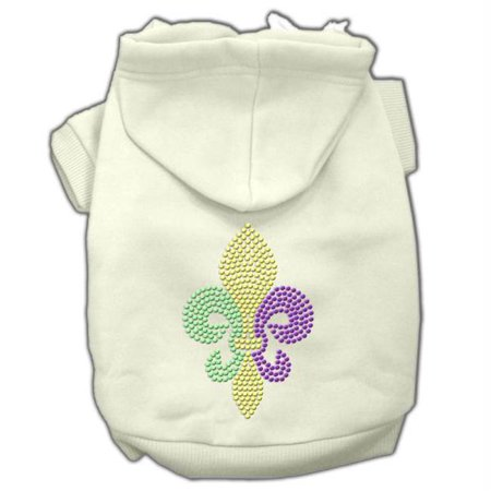 Mardi Gras Fleur De Lis Rhinestone Hoodies Cream Xs (8)
