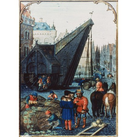 The Port Of Bruges Nmanuscript Illumination Late 14Th Century Rolled Canvas Art -  (24 x 36) (Illumination Lace)