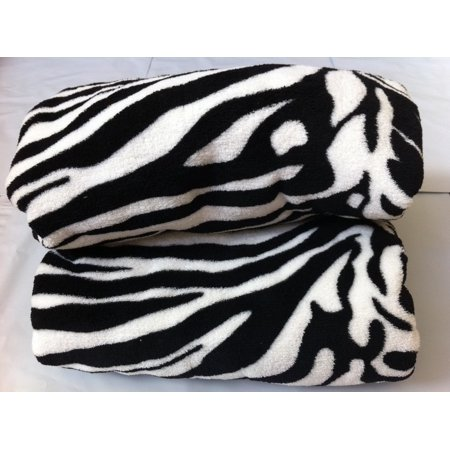 Queen Blanket Sumptuously Soft Plush Black Zebra Animal Print Blankets / Reversible, Super Soft Plush Queen Blanket By