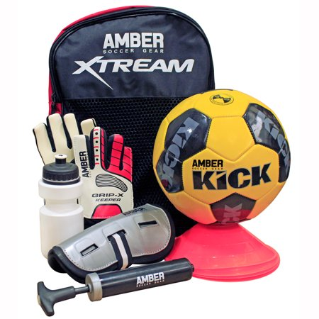 Soccer Post Sporting Goods - Amber Sporting Goods Kids Soccer Trainer Set (7 Piece) – Set Includes Size 5 soccer ball, Marker Discs, Shin Guards, Water Bottle, Goalie Gloves, ball pump all packaged in a handy backpack. Great Gift