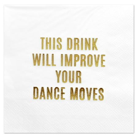 Andaz Press Improve Your Dance Moves, Funny Quotes Cocktail Napkins, Gold Foil, Bulk 50-ct - Gold Cocktail Napkins