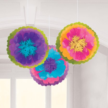 Mad Tea Party Hanging Fluffy Decorations (3pc)