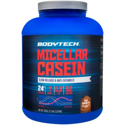 BodyTech Micellar Casein Protein Powder, Slow Release for Overnight Muscle Recovery  24 Grams of Protein per Serving  Rich Chocolate (4