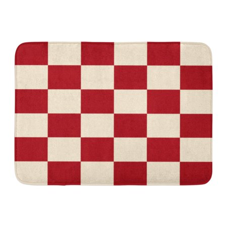 SIDONKU Yellow Pattern Red Cream Chess Board Beige Checkered Burgundy Chessboard Doormat Floor Rug Bath Mat 23.6x15.7 inch ()