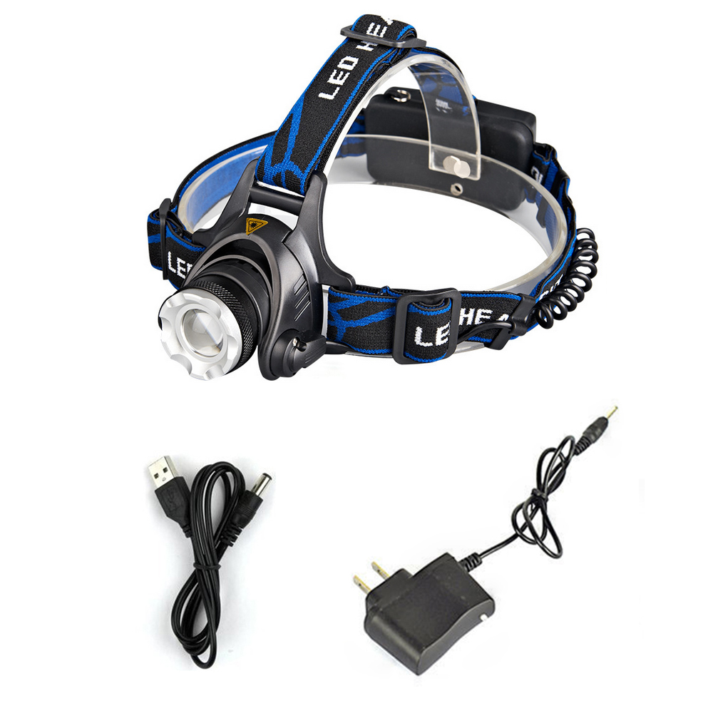 Mupoo 3000LM CREE XML XM-L T6 LED Zoom Rechargeable Headlamp Head Torch Light &Charger