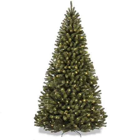 Best Choice Products 7.5-Foot Pre-Lit Spruce Hinged Artificial Christmas Tree with 550 UL-Certified Incandescent Warm White Lights, Foldable Stand, Green