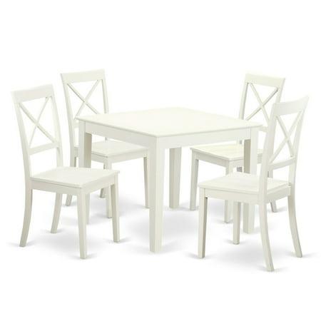 East West Furniture 5 Piece Crossback Breakfast Nook Dining Table Set