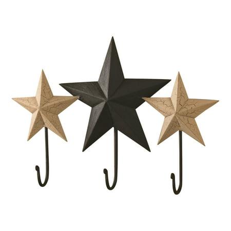 Park Designs Blackstone Primitive Stars Triple Metal Hooks 12 Inch Wall Decor