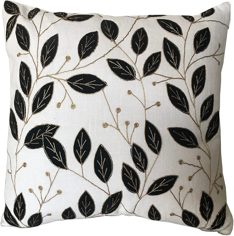 Zara 18 Inch Artisan Crafted Decorative Throw Pillow Cushion Cover White Cotton Jute Blend W Modern Jacobean Leaf Pattern 1 Walmart Com Walmart Com