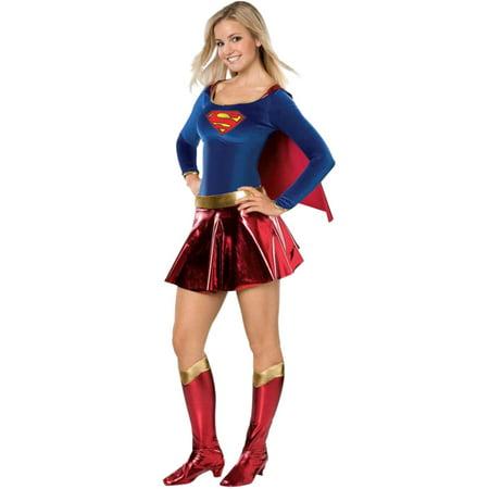 Supergirl Costume For Women (Junior Womens Supergirl Halloween Super Woman Costume Hero Dress)