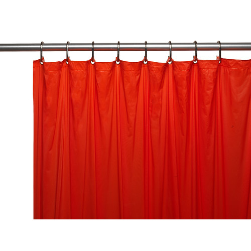 3 Gauge Vinyl Shower Curtain Liner w/ Weighted Magnets and Metal Grommets in Red