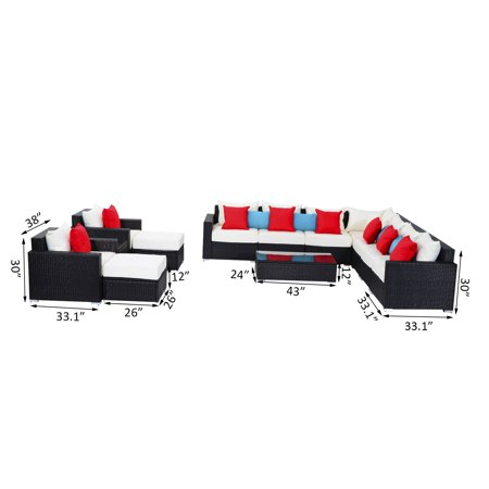 13pc Aluminum Patio Rattan Set Wicker Sofa Seat Outdoor Furniture with Cushion Pillow - image 6 of 7
