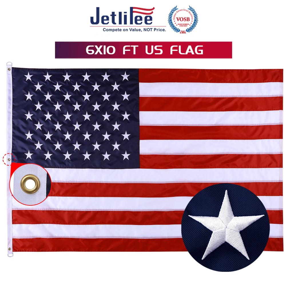 6/'x10/' FT American Flag USA US U.S Sewn Stripes Embroidered Stars Brass Grommet