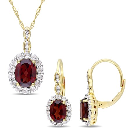 Signature Collection 14k Yellow Gold Garnet White Topaz & Diamond Accent Halo Necklace & Leverback Earrings Set ()