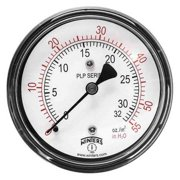 WINTERS Low Pressure Gauge, Back,0 to 55 in. H2 PLP342
