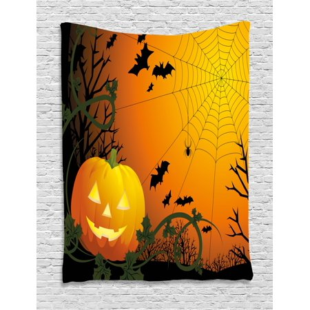 Spider Web Tapestry, Halloween Themed Composition with Pumpkin Leaves Trees Web and Bats, Wall Hanging for Bedroom Living Room Dorm Decor, 40W X 60L Inches, Orange Dark Green Black, by Ambesonne - Halloween Themed Room Ideas