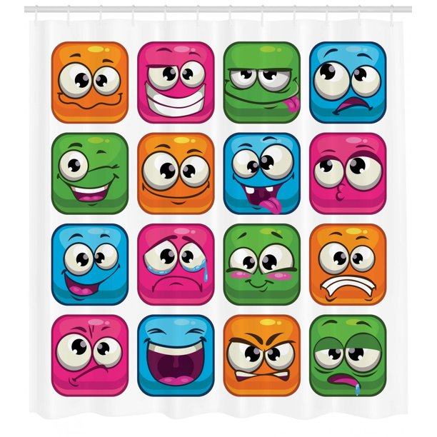 emoji shower curtain set digital square cartoon decor for children smiley face expression monster comic avatar image bathroom decor multi by ambesonne walmart com walmart com emoji shower curtain set digital square cartoon decor for children smiley face expression monster comic avatar image bathroom decor multi by