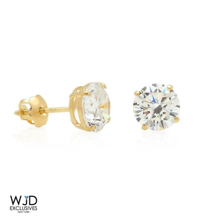 2Ct Round Simulated Solitaire Diamond Stud Earrings 14K Solid Yellow Gold 6mm (Topaz 14k Yellow Gold Slide)