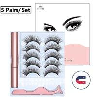 5 Pairs Magnetic False Eyelashes with Magnetic liquid Eyeliner Easy to Wear Lashes Kit Diamond