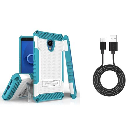 Bemz Accessory Bundle for Alcatel TCL LX - Tri-Shield Military Grade Kickstand Case (White/Teal) with Durable Micro USB Data Sync Cable (3 feet) and Atom Cloth for Alcatel TCL LX