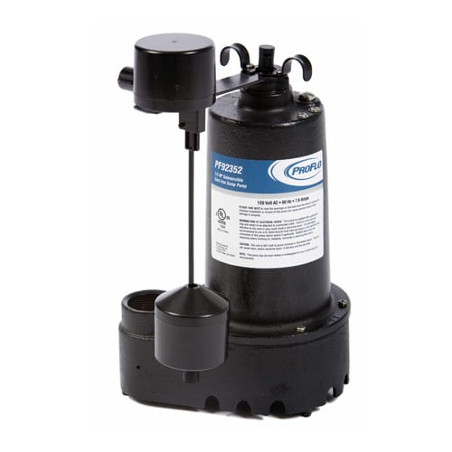 ProFlo PF92352 1/3 HP Cast Iron Submersible Sump Pump with Side Discharge