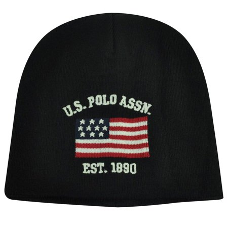 US Polo Assn Association Brand Flag Logo Cuffless Hat Black Beanie Knit  Toque - Walmart.com 7d3963f1afd