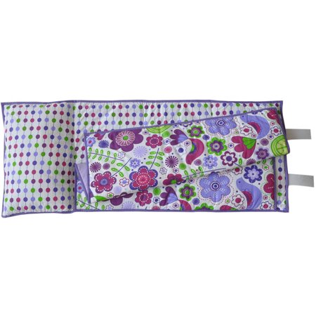 Bacati - Botanical Purple Toddler Nap Mat 100% Cotton Percale with attached pillow, size 20 x 50 (Nap Mat Cover With Attached Pillow And Blanket)