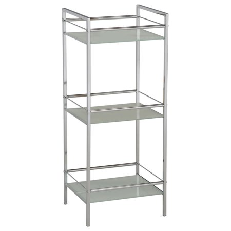 Obelia Chrome Metal & White Tempered Glass Modern 3 Tier Free Standing Utility Rack Organizer Stand](3 Tier Metal Stand)