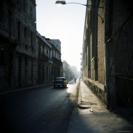 Street Scene with Old American Car, Havana, Cuba, West Indies, Central America Print Wall Art By Lee Frost (Old West Scenes)