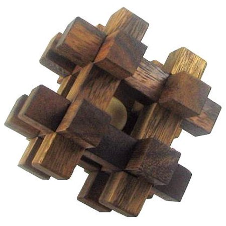 Caged Ball Wooden Brain Teaser Puzzle - Brain Balls