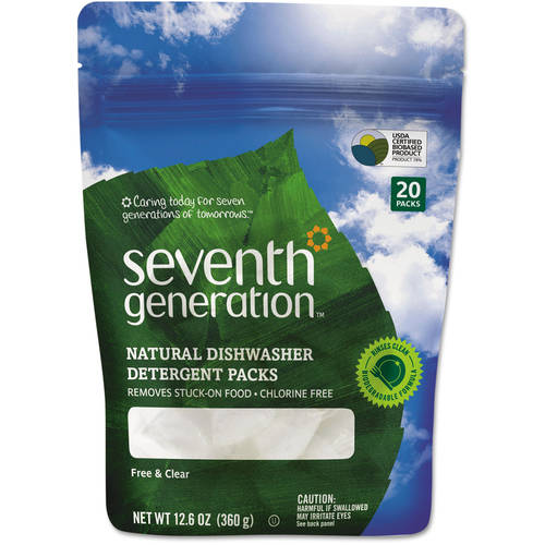 Seventh Generation Auto Dish Pacs, Free & Clear, 20 ct