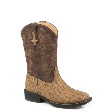 Roper Caiman Kids Boys Tan Faux Leather Chomp Cowboy Boots 3 Boys Tan Leather