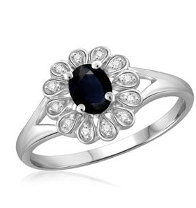 1/3 Carat T.G.W Sapphire and White Diamond Accent Sterling Silver Fashion Ring - 7