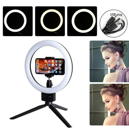 7 Inch Ring Light, Dimming Double Color Temperature LED Ring Light, WQPP017 Selfie Ring Light with Tripod Stand & Cell Phone Holder for Live Stream