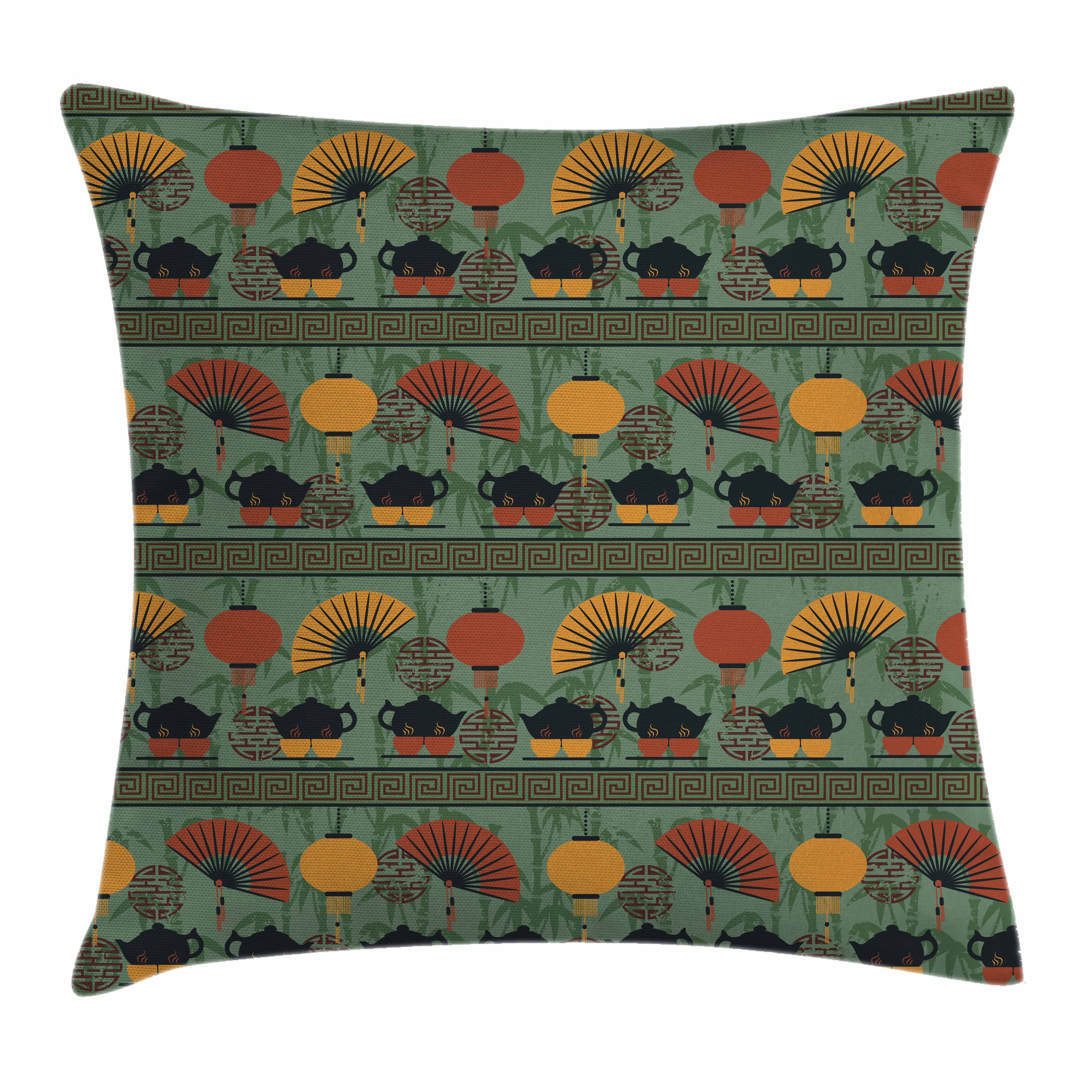 Tea Party Throw Pillow Cushion Cover, Asian Ethnicity Theme Grunge Bamboo Branches Chinese Lanterns, Decorative Square Accent Pillow Case, 16 X 16 Inches, Reseda Green Orange Marigold, by Ambesonne