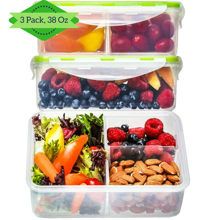 Bento Box Lunch Box Containers [3, 38 Oz] - Reusable Bento Box for Kids & Adults, 3 Compartment Meal Prep Containers, Food Storage Containers with Lids, Lunch Boxes for Kids, BPA FREE, Microwave Safe (Store Adults)
