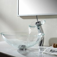 Bathroom Tempered Clear Glass Vessel Sink Waterfall Faucet & Pop-up Drain