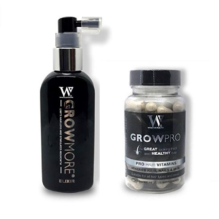 Waterman's GrowMore Elixir with Biotin, Lupine Protein, Rosemary, 3.4 Oz + Waterman's GrowPro for Great Looking Thick and Healthy Hair, Pro Hair Vitamins, Benefits Hair, Nails and Skin, 60